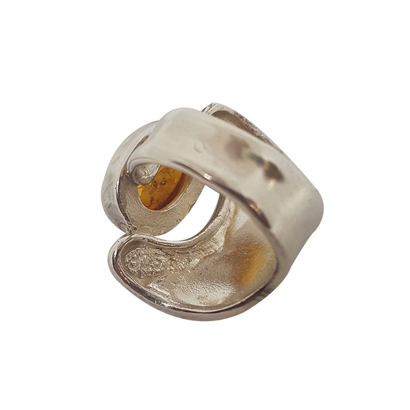 Amber Abstract Silver Ring