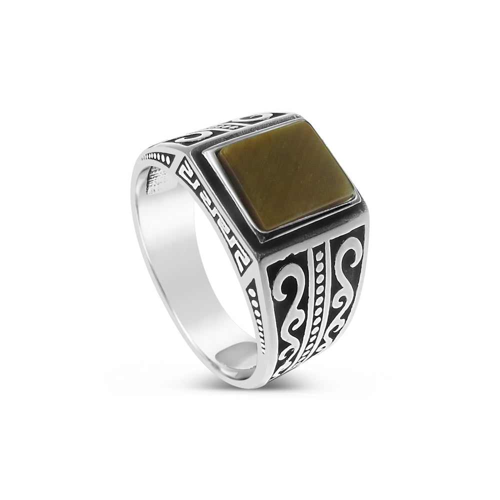 keltic men's ring boho bohemian style silver and amber ambar stone jewellery for men size 9 new collection available for sale online or in store on Oxford Street in Paddington, Sydney, Australia at PIZZUTO boutique