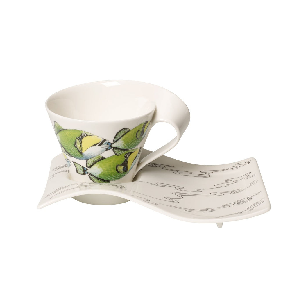 Nwc Trigg.Fish white coffee cup with plate 6 person