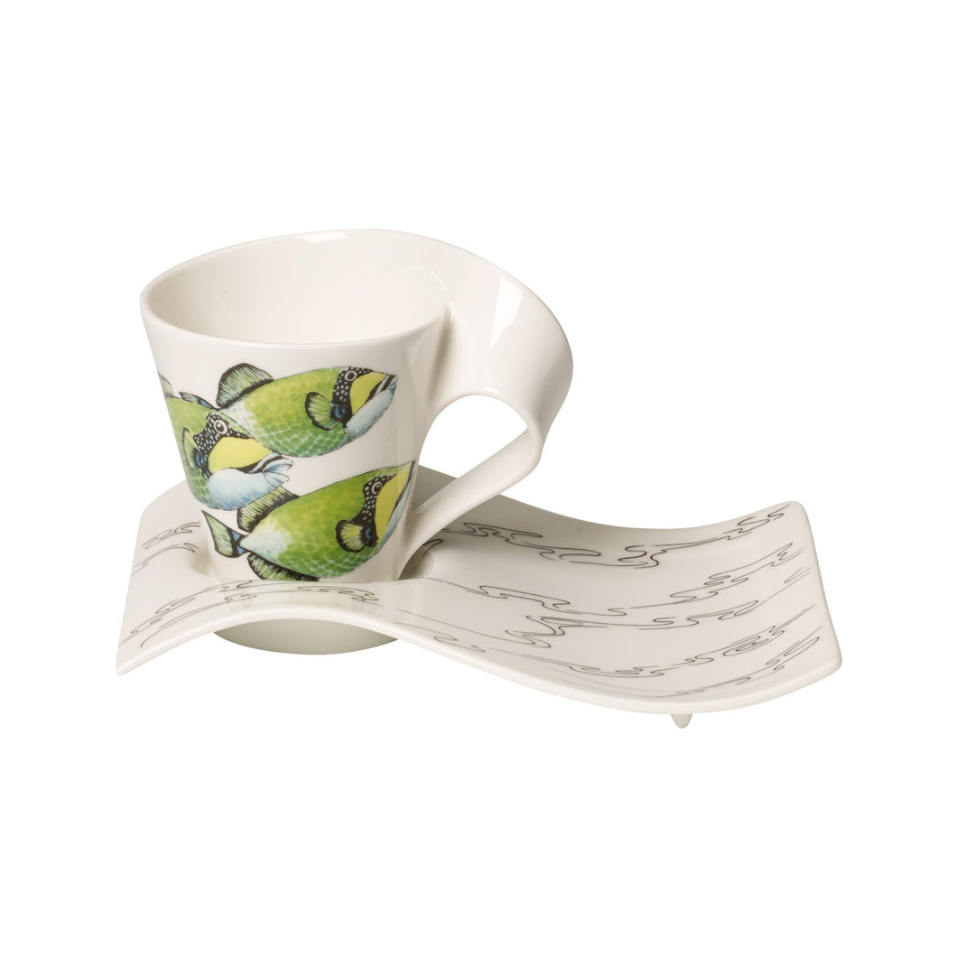 Nwc Trigg.Fish coffee cup with plate 6 person