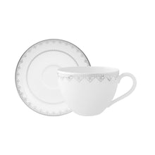 Load image into Gallery viewer, White Lace Tea/Coffee cup Set 6 person on 12 pieces