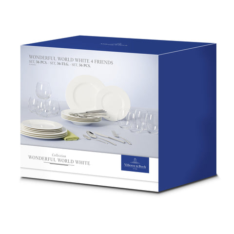 Wonderful World White 4 friends Dinner Set 36 pcs