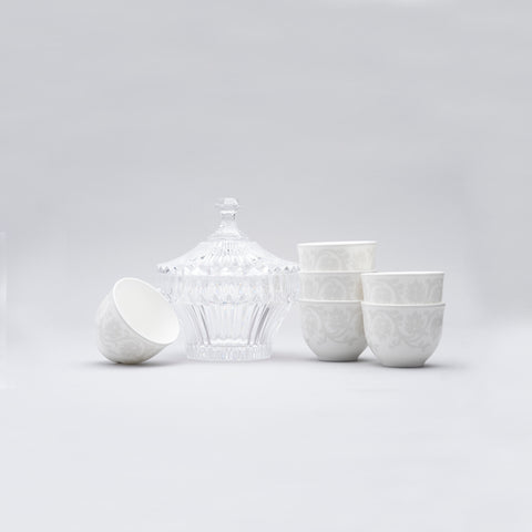 Gray Pearl Arabic coffee cup 6 pcs with crystal covered bowl