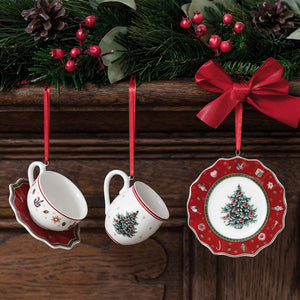 Toy's Delight Decoration Ornaments Tableware set red, 3pcs. 4x7cm