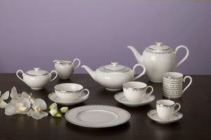 White Lace Coffee Set 6 person on 17 pieces