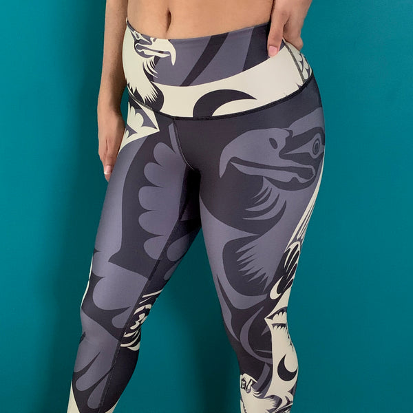 Gold eagle design on taupe legging. Largest selection of NoMiNoU Athleisure in Vancouver.