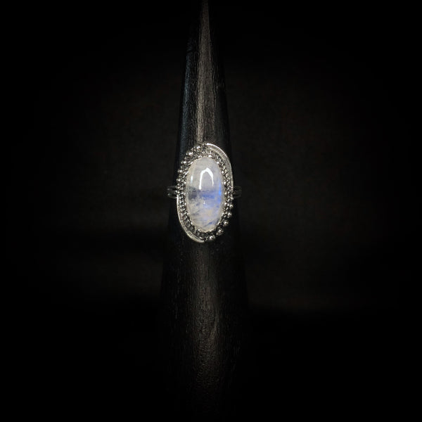 Moonstone w/ Silver Border Ring