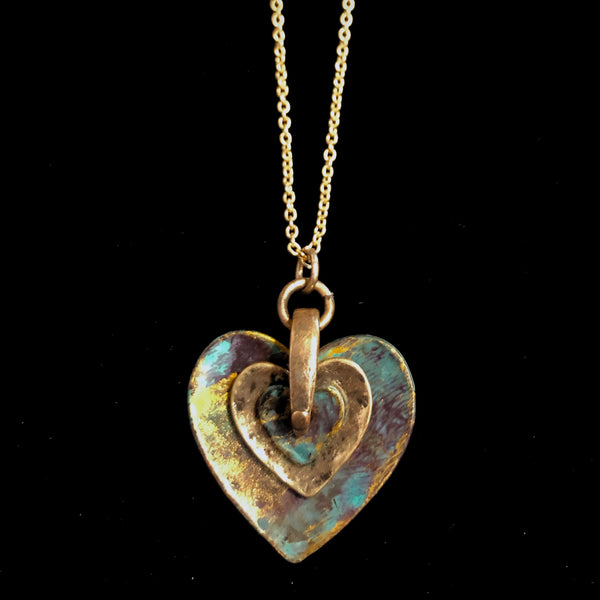 Rustic Layered Heart Necklace