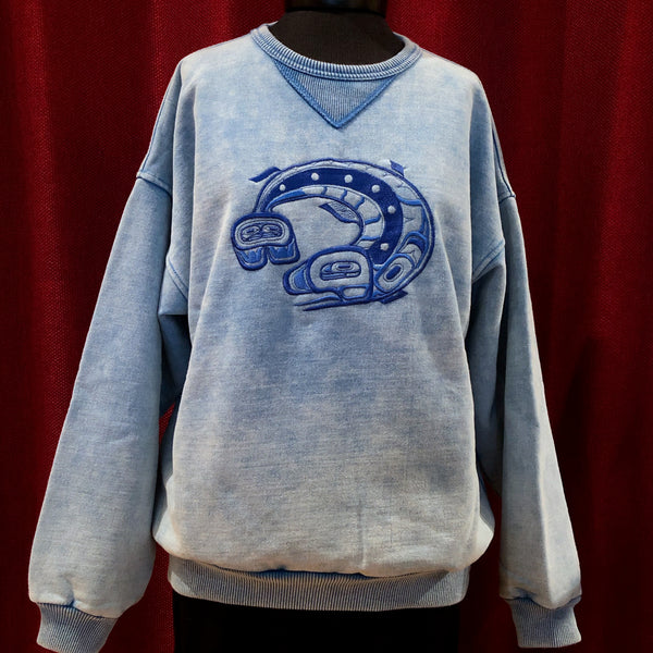 Salmon - Light Blue Stonewashed Sweatshirt (Only L Left)