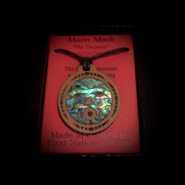 Moon Mask - Wooden Pendant