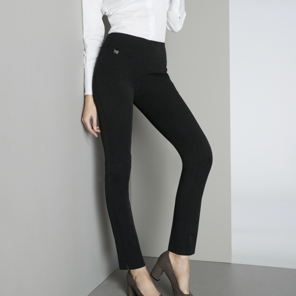 Pull-on black slim leg pant with tummy control waistband that gives every shape the most flattering fit. A comfortable, soft material that is perfect to wear at work, on your days off, or just while running errands in the fall/winter. This the perfect basic black pant for your wardrobe.