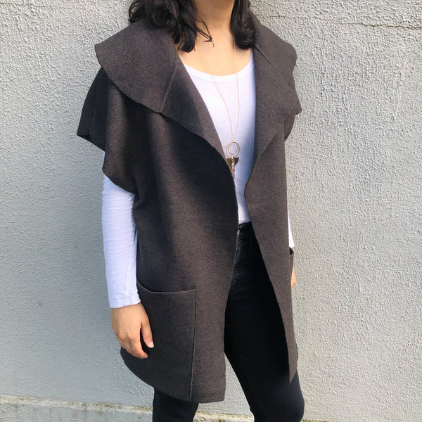 Draped Collar Vest w/ Pockets (Only M + L Left)