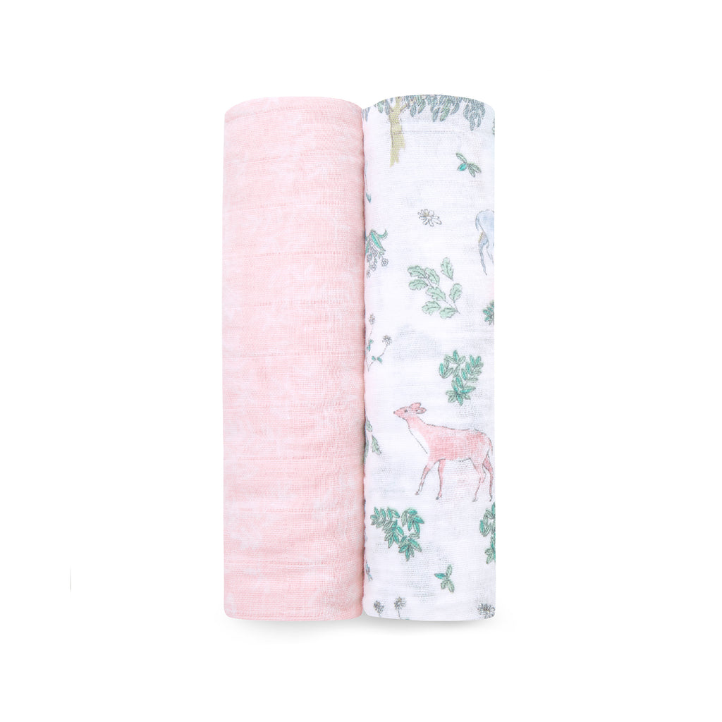 Pack x 2 mantas swaddle Forest Fantasy muselina algodón