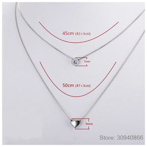 100% 925 Sterling Silver Double Layers Necklace