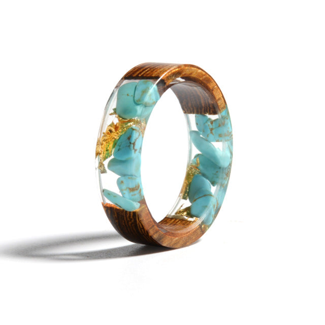 Colorful Dried Flower Wood Ring