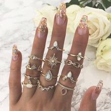 Load image into Gallery viewer, 12 Pcs Vintage Geometric Rings Set