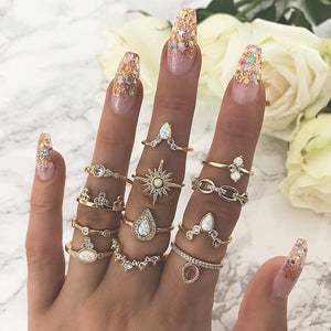 12 Pcs Vintage Geometric Rings Set