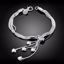 Load image into Gallery viewer, 100% 925 Sterling Silver Bracelet Five Hearts