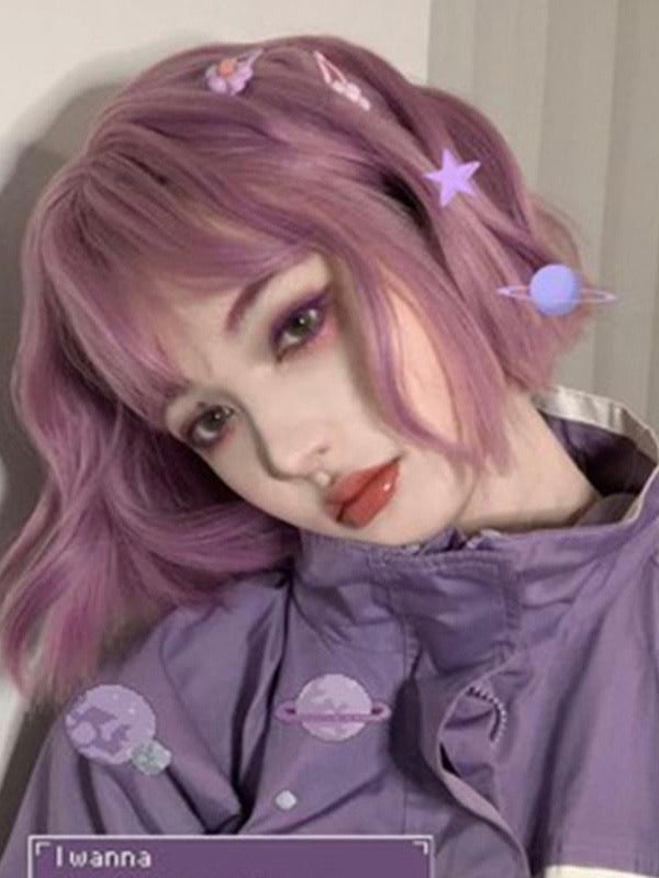 Purple Wavy Wig With Bangs - The Magic Glow Co.