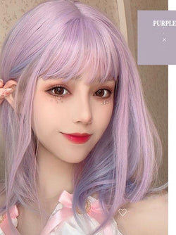 Medium Wavy Pink Wig With Bangs - The Magic Glow Co.