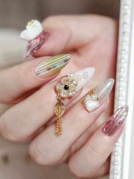 3D Metal Zircon Nail Art Jewelry Japanese Nail Decorations | The Magic Glow Co.