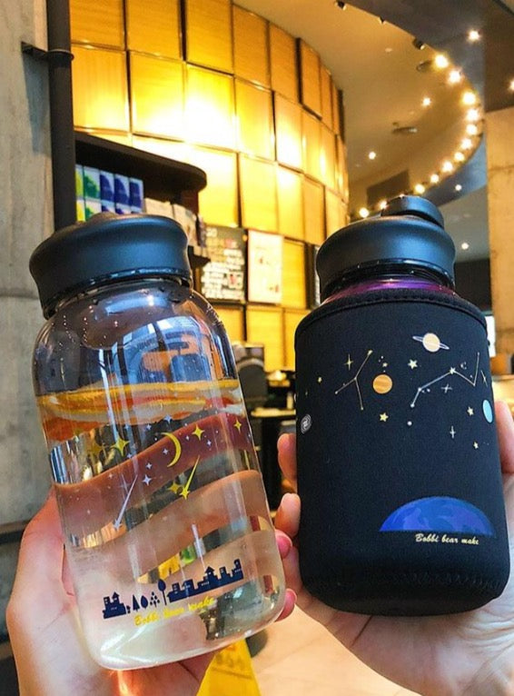 Starry Sky Gradient Glass Water Bottle With Protective Bag - The Magic Glow Co.