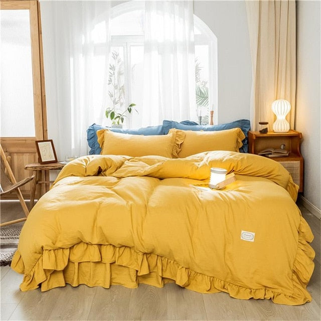 Solid Color Ruffled Duvet Cover | The Magic Glow Co.