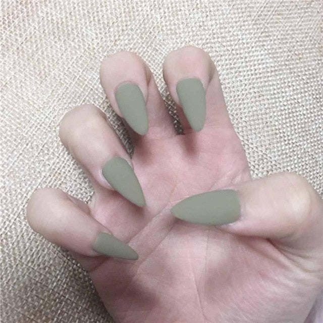 Full Cover press on Pointed Head Stiletto Fake Nails with Glue - The Magic Glow Co.