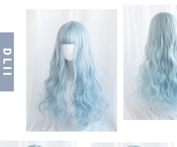 Long Curly Blue Cosplay Wig - The Magic Glow Co.