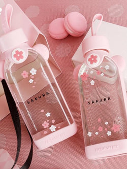 Pink Cherry Blossom Glass Water Bottle - The Magic Glow Co.