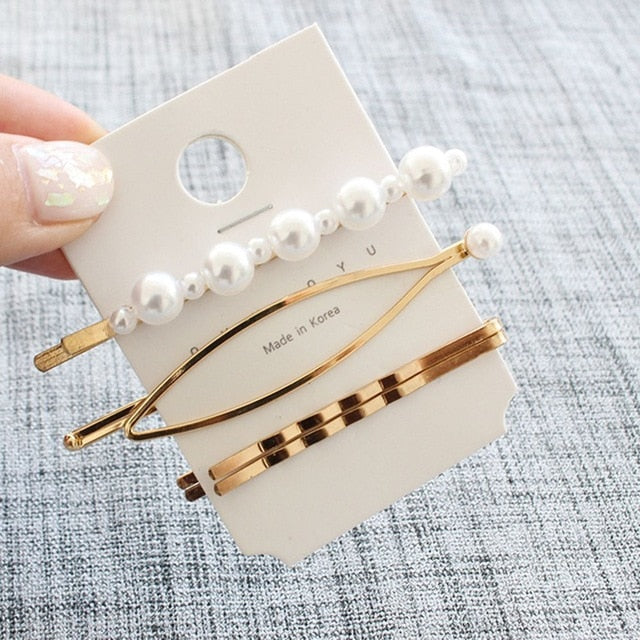 Metal & Pearls Hair Clips - The Magic Glow Co.