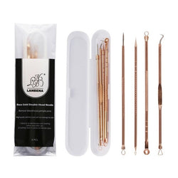 4Pcs Stainless Steel Rose Gold Acne Extractor Remover Kit - The Magic Glow Co.