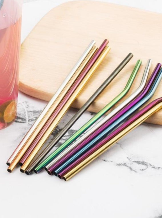 Colorful Reusable Stainless Steel Straws | Bent & Straight | The Magic Glow Co.