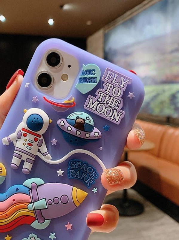 Cute Cartoon 3D Space Astronaut Case For iPhone - The Magic Glow Co.