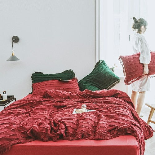 100% Cotton Tassel Korean Bedding Set - The Magic Glow Co.
