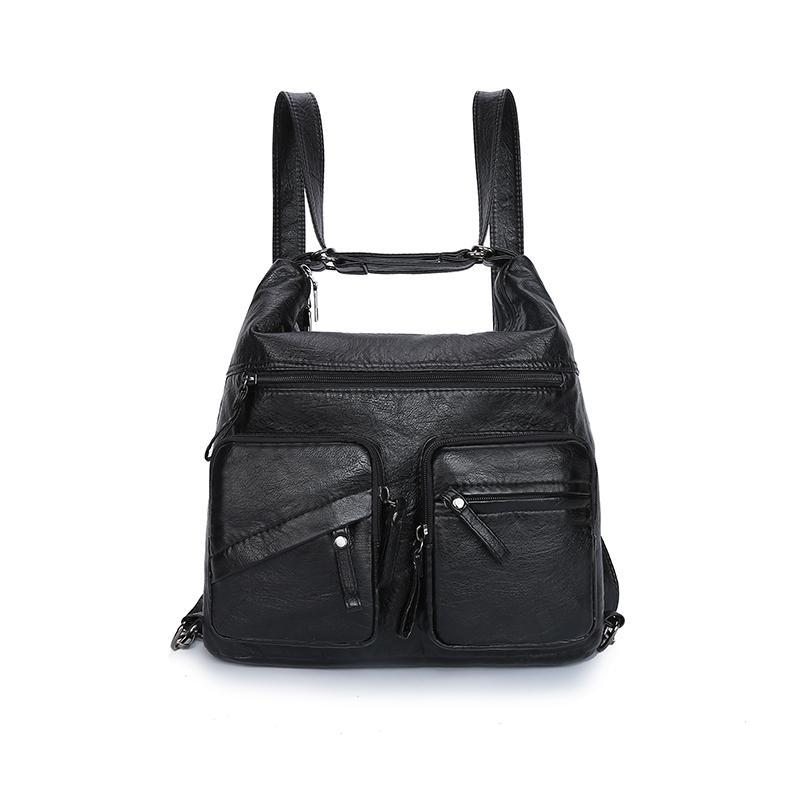 Multifunctional Leather Shoulder Bag Large Capacity Backpack 112