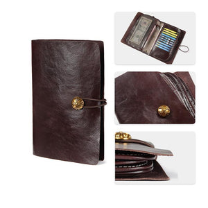 Vintage Card Holder Solid Phone Bag Long Wallet With Metal Zippers And A Strap