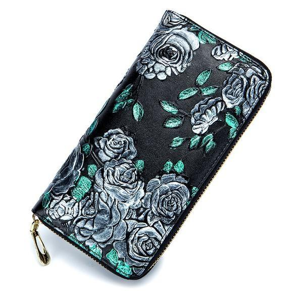 Genuine Leather Colored Drawing Rose Wallet Bag
