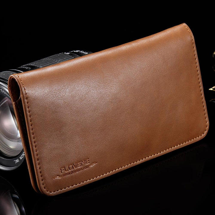 Ucord Universal Genuine Leather Magnetic Wallet Phone Case