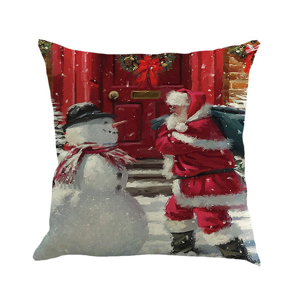 1pc Happy Christmas Pillow Cases Linen Sofa