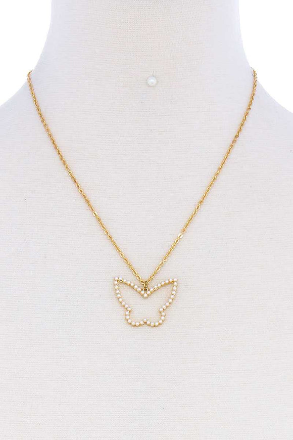 Stylish Cute Butterfly Out Line Necklace And Earring Set
