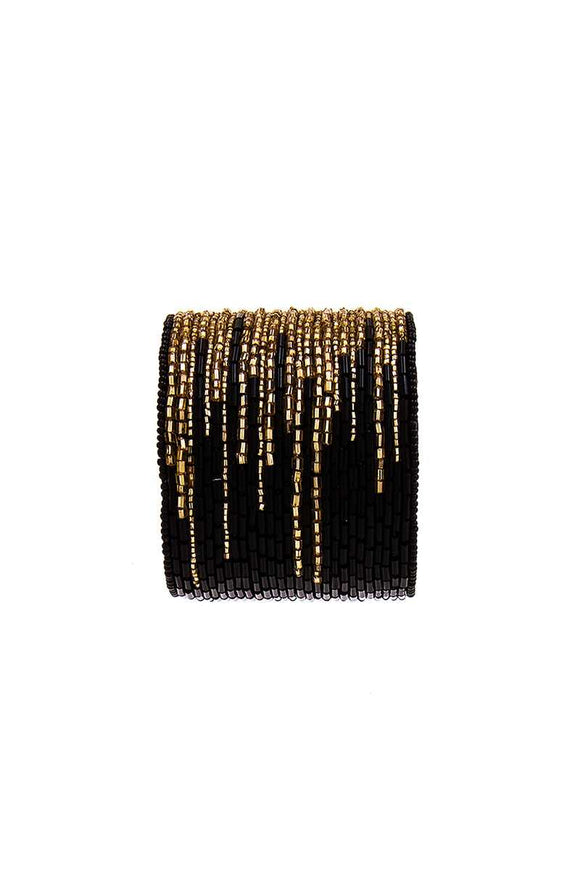 Multi Beaded Thick Bangle Bracelet