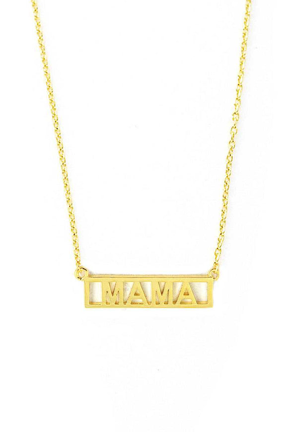 Brass Mini Mama Letter Bar Necklace