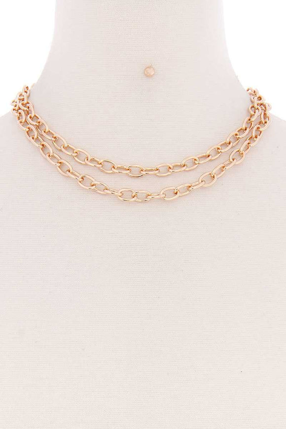 2 Simple Chain Metal Layered Necklace