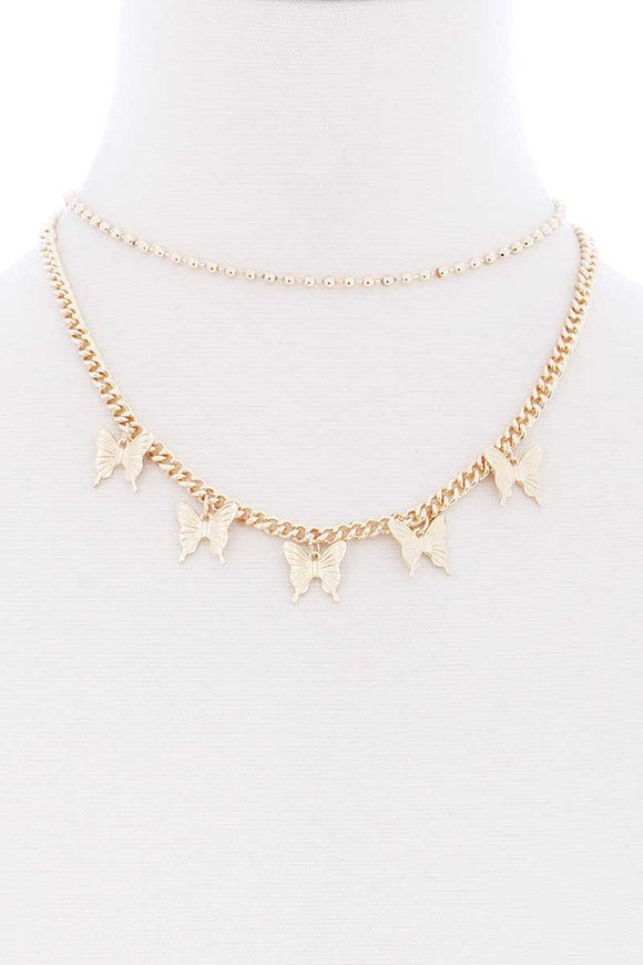 2 Layered Metal Butterfly Charm Necklace