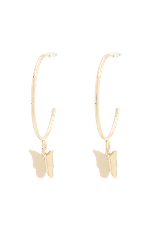 Butterfly Metal Dangle Hoop Earring