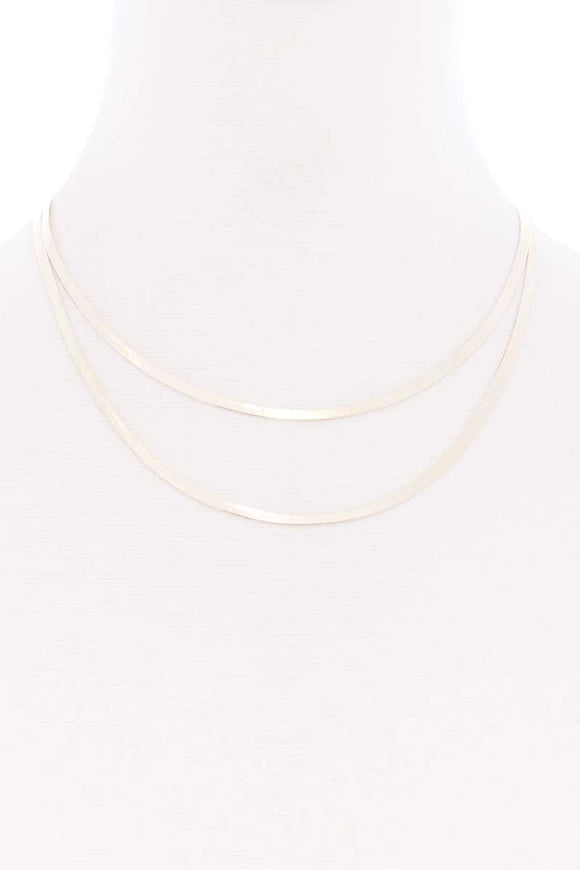 Sodajo 2 Layered Herringbone Metal Chain Necklace