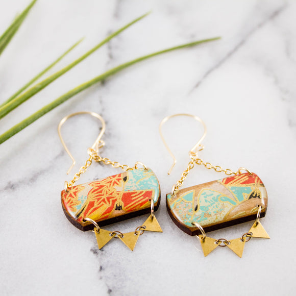 Festival Drop Earrings- Red + Aqua + Yellow