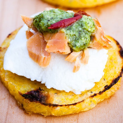 Polenta with Ricotta and Pesto Salmon