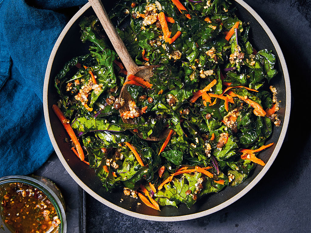 Kale and Carrot Salad with Tsampa Vinaigrette